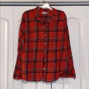 XL Old Navy flannel. Orangish-Red and black.